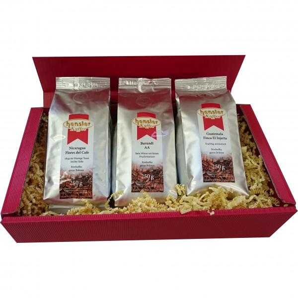 Geschenkset 2: Sortenreine Kaffees neutrale Geschenkpackung